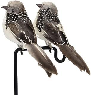 lwingflyer Artificial Simulation Foam Bird, Sparrow Ornaments DIY Craft for Home Garden Wedding Decoration Party Accessories 16cm/6.29inch (2pcs, Grey)