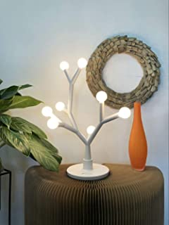 Fugetek LED Table Desk Tree Branch Lamp, Whimsical, 750 Lumen, 8W, Modern Unique Design, Interchangeable Branches, 8 Warm Round Bulbs, Use Anywhere Home/Office/Dorm, White