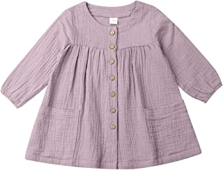 MAOMAHREWW 2pcs Infant Toddler Baby Girls Outfit Set Long Sleeve Shirt Strap Skirt