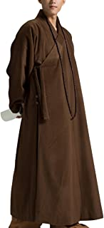 Dark Coffee Winter Wool Meditation Robe Monk Outfit Zen Buddhist Men Robe