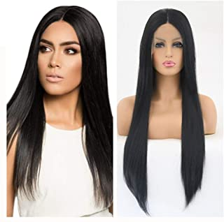 Natural Hairpieces fashian Natural Looking Long Black Straight Lace Front Wig For Women Synthetic Hair Light Full Wigs Heat Friendly 24 Inch (Color : Black, Size : 24 inch)