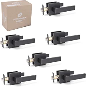 6 Pack of Contemporary Square Door Handle Lever Sets - Passage for Hallway, Closet - Oil Rubbed Bronze