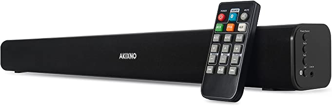 AKIXNO Sound Bar 20W Remote Controlled Wired Wireless and Bluetooth 2.0 Channel Home Theater 3 EQ Modes Ideal for TV PC Tablets Gaming, Wall Mountable, Jet Black Surface (24-Inch Playbar)