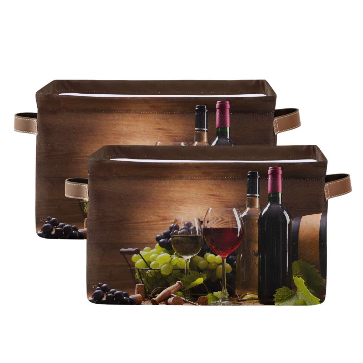 WXLIFE Now free shipping Storage Basket Bins Retro Glass Backgr Wooden mart Grapes Wine