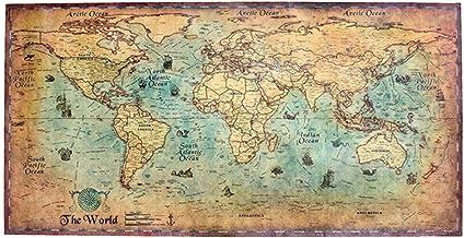 Maxpex Vintage Nautische Oceaan Zee Wereldkaart Muurkunst Stickers Schilderijen Woondecoratie Muurstickers Decor voor Woon...