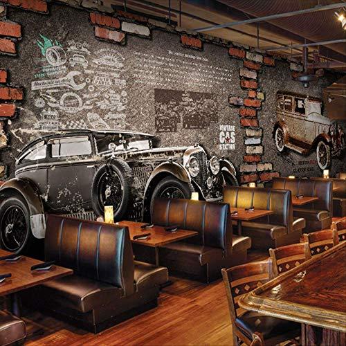 XIAODOU Papel Tapiz Custom 3D Mural Internet Cafevintage Moto Coche Pared De Ladrillo Europeo Retro Cafetería Dormitorio Sala De Estar Mural Wallpaper 1M2