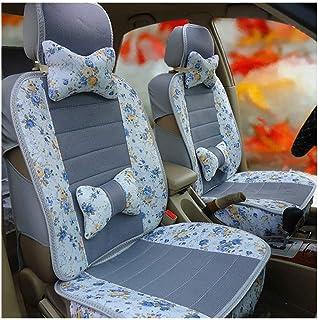 JKHOIUH Universal Fit Full Set Flat Cloth Ice Silk Cubierta de Asiento de automóvil, se Adapta a la mayoría de los automóviles, Camiones, camionetas o Furgonetas Conjunto Combinado de Cubierta de asi