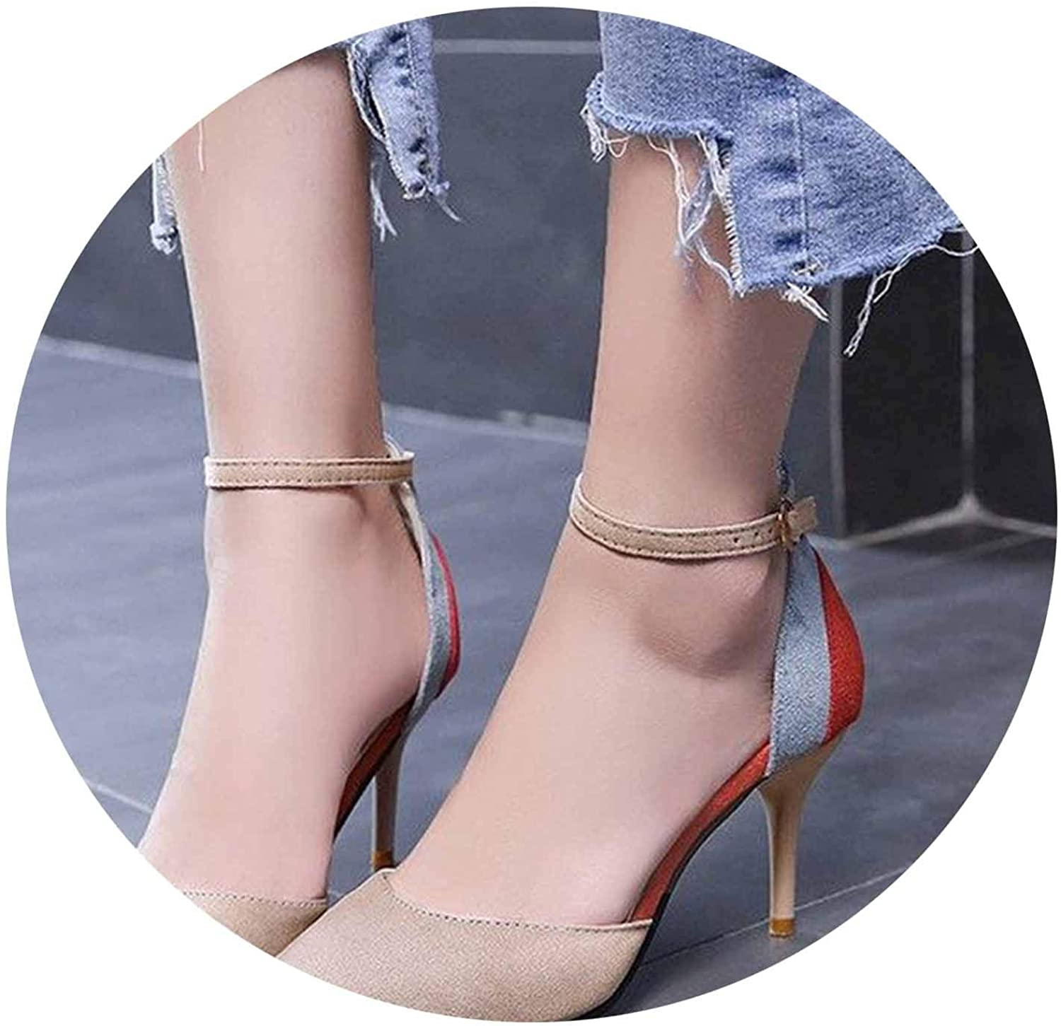 Women High Heels Two Pieces Ankle Strap Pumps Suede Mixed colors shoes Classic Spring Single