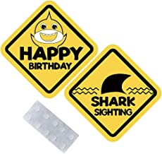 """Palksky Shark Sighting and Happy Birthday Signs, Large, 16.5"""" Across, Ocean Party Door Signs Double Sided for Baby shower Kids Boys Grils 1st First Brithday Party Decorations"""