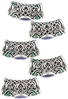 Perfeclan 5Pcs Viking Hair Beards Beads DIY Jewelry For Bracelet Pendant Necklace - Multicolor, 2.3 x 1 cm
