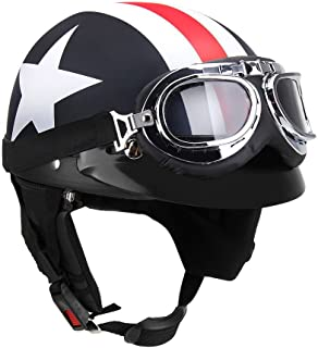 KKmoon Half Open Face Motorcycle Helmet with Goggles Visor Scarf Biker Scooter Touring Helmet for Harley