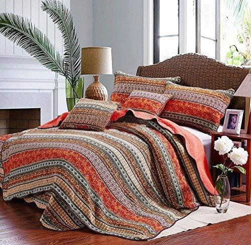 Best Striped Classical Cotton 3-Piece Patchwork Bedspread Quilt Sets...