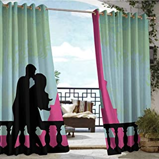 Andrea Sam Fashions Drape Kiss,Couple in Paris Kissing Near The Eiffel Tower Valentines Day Hand Drawn Style,Seafoam Pink Black,W96 xL96 for Patio Light Block Heat Out Water Proof Drape
