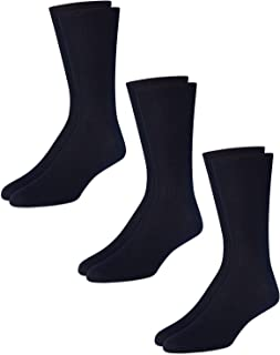 Men's 3 Pack Mercerized Cotton Non Binding Crew Socks