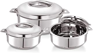 WARMEO Stainless Steel Solid Casserole - 1000 ml, 1500 ml, 2500 ml, Set of 3, Silver