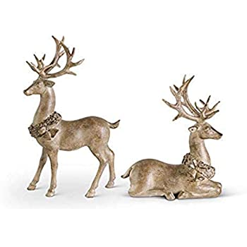K&K Interiors 53936A Set of 2 Resin Light Brown Deer with Antique Finish, 12 inch