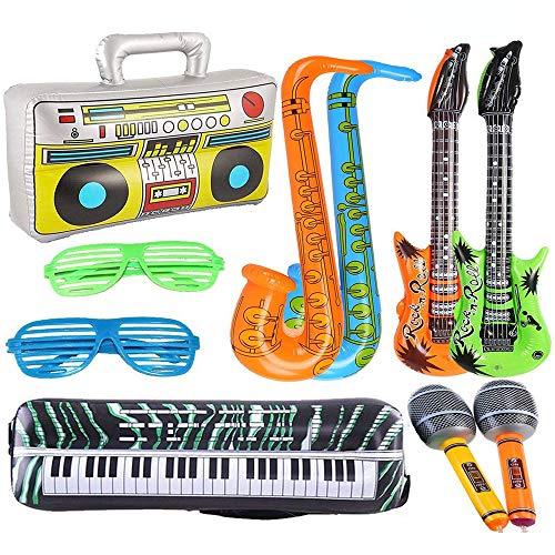 10 Pieza Instrumento Musical Fiesta Accesorios Globo, Inflables Guitarra Saxofón Micrófono Globos Instrumentos Musicales Accesorios, para Fiesta Suministros Favores de Fiesta Globos (Random Color )