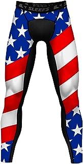 Compression Yoga Tights/Leggings, L USA America Flag