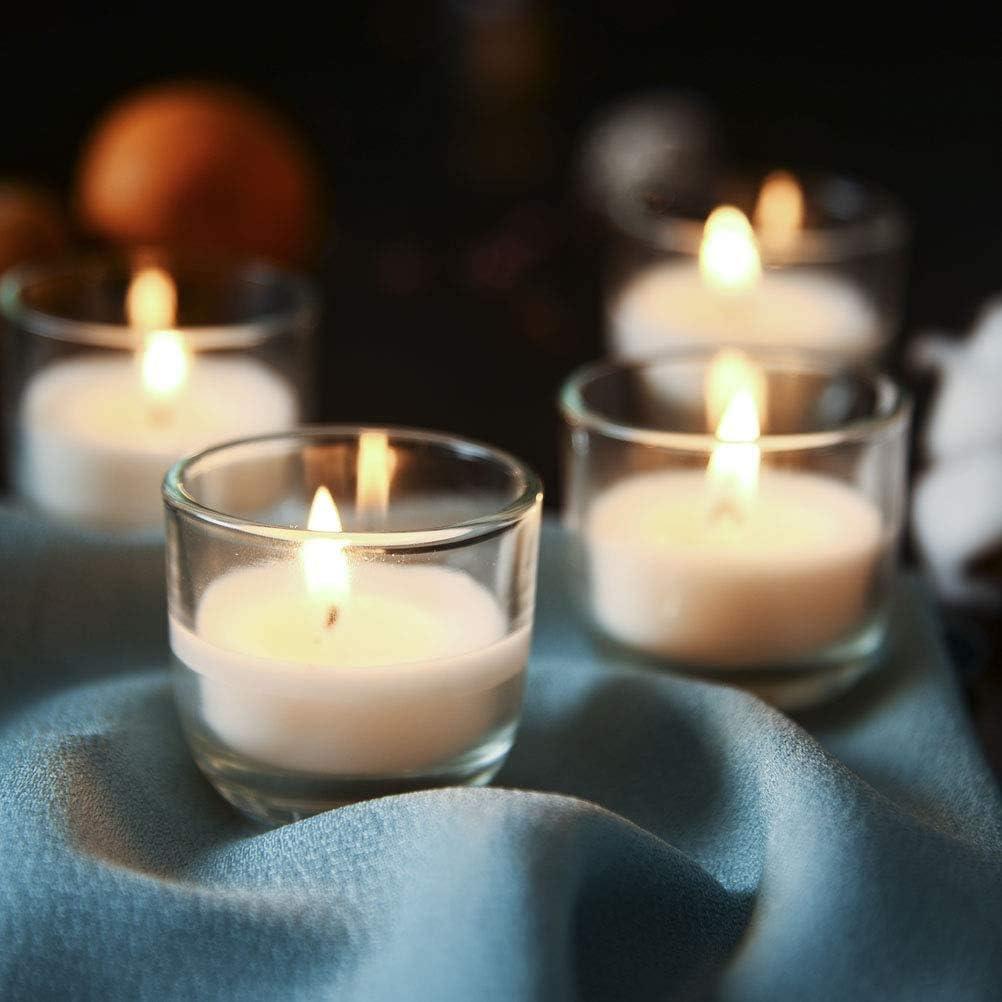 5h Brenndauer Duftfreie Transparente Kerzen f/ür Geburtstag Party Supreme Lights Nightlights in Glas Votivkerzen Wei/ß Paraffin Feier 24 St Hochzeit