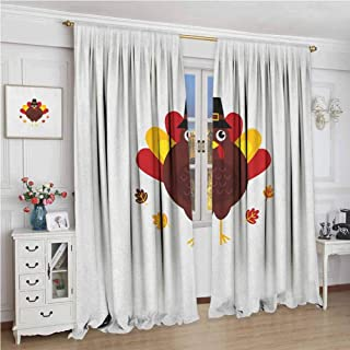 GUUVOR Turkey Blackout Curtain Cartoon Style Pilgrim Bird with Hat Fun Animal Character American Tradition 2 Panel Sets W96 x L72 Inch Maroon Red Yellow