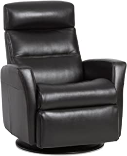 IMG Divani RM 325 Large Glider Relaxer Rocking Recliner Swivel Chair - Premium Aniline Sand Leather Power Recline - Adjustable Headrest - - in-Home Delivery