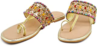 Latest Collection Girl's Slip on Embroidered Ethnic Flat Sandals (Golden, numeric_3) UK Size 3