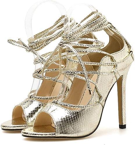 EGS-chaussures Escarpins à Bout Ouvert enveloppés dans Une Croix Romaine Coupe-Vent pour Femme Chaussures de Cricket (Couleur   oren, Taille   37)