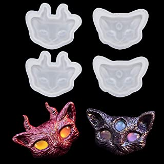 4Pcs/Set Cat Silicone Resin Epoxy Molds Crystal Beading Jewelry DIY Devil Cat Head with Three Eyes and Horns Necklace Pendant Casting Mold Hand Craft Resin Molds Cake Fondant Molds