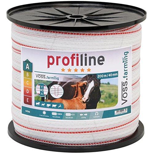 VOSS.farming Weidezaun Band 200m, 40mm, 1x0,3 Kupfer + 9x0,2 NIRO, weiß-rot Weidezaunband Weidezaunbreitband Pferdeband