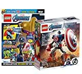 Collectix Lego Set – Marvel Avengers Captian America Mech 76168 + libro de Los Vengadores (cómics, plantillas para colorear, póster) – Varias selecciones – con bolsa de plástico