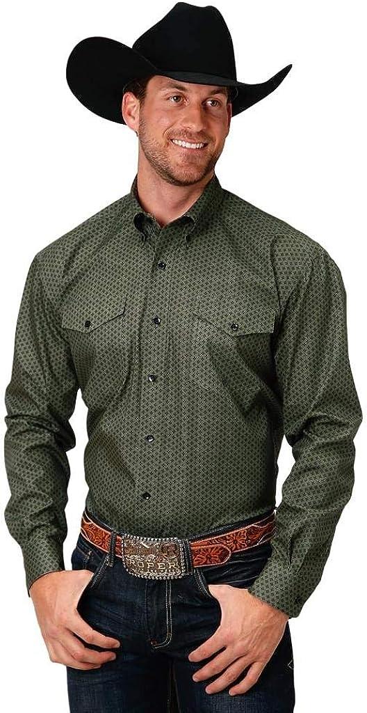 Roper Western Shirt Mens Foulard L/S Green 03-001-0625-0774 GR