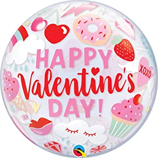 Qualatex Everything Valentine's Bubble Balloon, 22-Inch Size, Clear