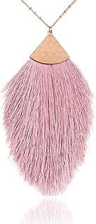 Bohemian Fringe Tassel Pendant Statement Necklace - Silky Strand Semi Circle Fan Thread, Pearl Charm Long Chain