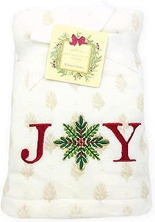 Ridgefield Home Holiday Collection Set of 2 Embroidered Joy Hand Towel Set for Christmas Holiday Bathroom & Home Decor