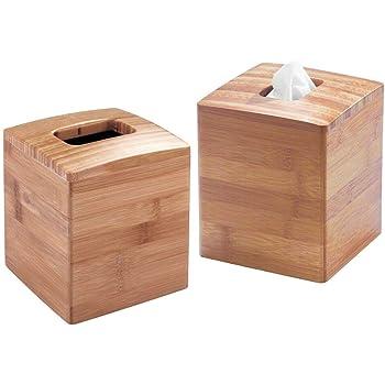 mDesign Juego de 2 dispensadores de pañuelos – Elegantes fundas para cajas de pañuelos cuadradas – Moderna caja