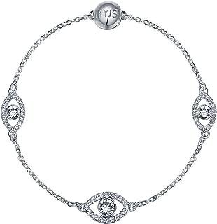 My Jewellery Story MYJS MYJS Affinity Evil Eye Interlinking Bracelet with Clear Crystals Rh Pt