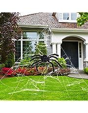 هالوين الديكور الخارجي المخيف العنكبوت، شبكة عنكبوت عملاقة قابلة للتمدد للغاية لتزيين ساحة الهالوين