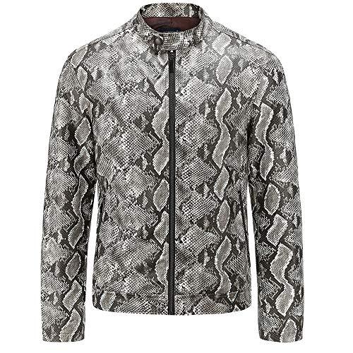 WAMLJ Gewaschene Lederjacke aus PU-Leder mit Schlangenleder für Herren Motorrad Classic Short Zipper Jacket,01,XL