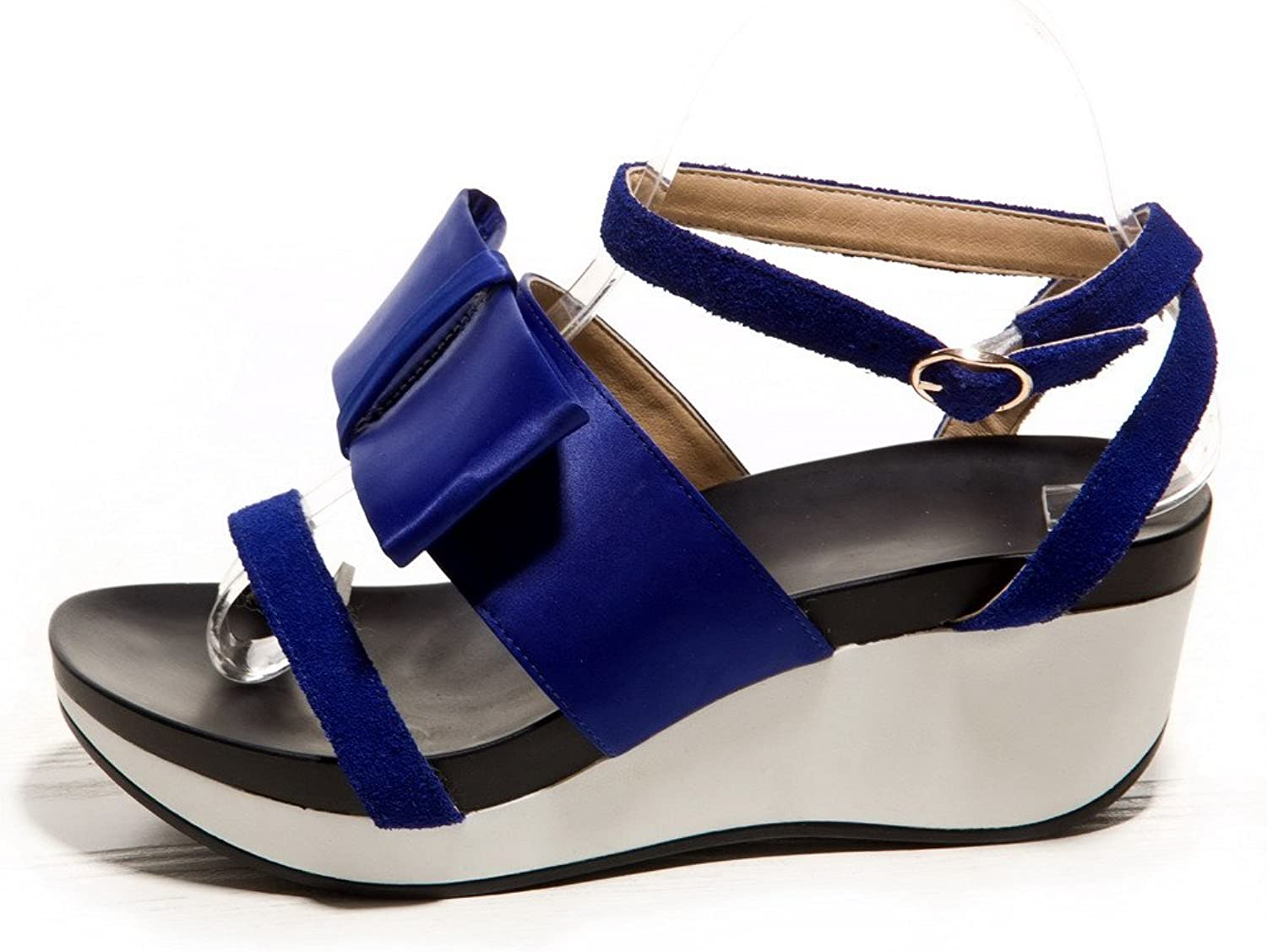 AllhqFashion Women's Round Open Toe Solid Kitten Heels Cow Leather Sandals with Bowknot