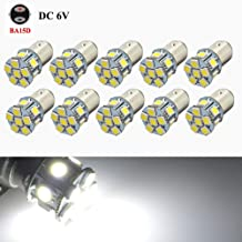 Ruiandsion 10pcs 6V Ba15d LED Bulb 5050 12smd White LED Bulb Use for Back Up Reverse Lights Brake Lights Tail Lights, 200 Lumens