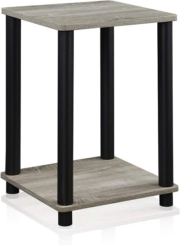 Furinno 99800GYW BK End Table 1 Pack French Oak Grey Black