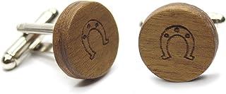 Gemelli in legno Horseshoe (ferro di cavallo). Collezione moda uomo: bottoni di camicia in noce fatti a mano. Matrimonio e...