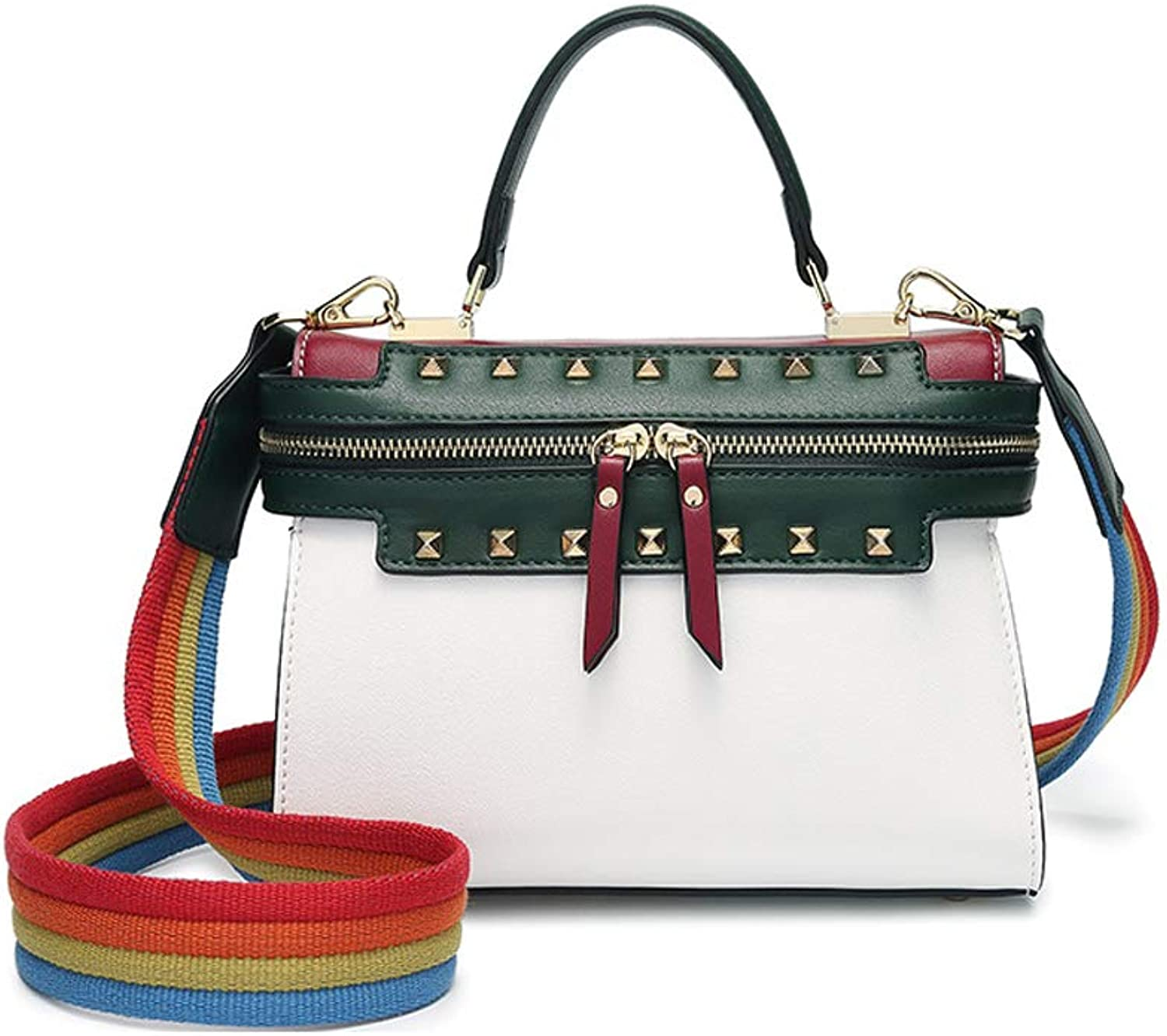 Sturdy New Casual Hit color Wild Wide Shoulder Strap Shoulder Handbag Shoulder Handbag Large Capacity (color   White)