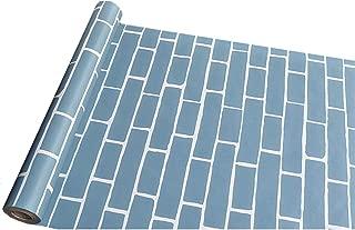 3D Wallpaper Blue Brick Wallpaper Self-Adhesive Retro Brick Stone Wall Paper Removable PVCWall Mural Vinyl Peel and Stick Shelf Paper for Wall Bathroom Kitchen Backsplash(17.7