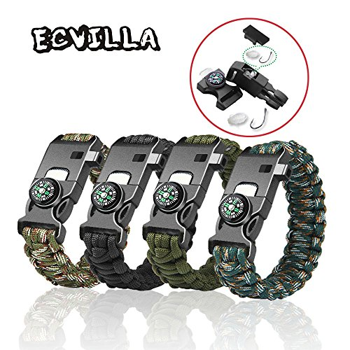 ECVILLA Paracord Bracelet Survival Bracelet with Compass, Fire Starter, Emergency Knife & Whistle (4 Pack)