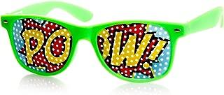 POW Art Mesh Lens Classic Colorful Horn Rimmed Poker Face POW Sunglasses (Green)