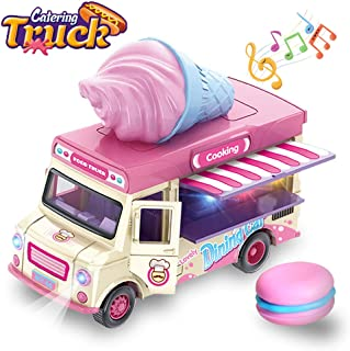 ZHENDUO Pull Back Cars, Food Truck Vehicle Toy Car with Music & Light and Openable Doors & Awning, Ice Cream Toy Cart, Alloy Toy Trucks Friction Car Toys for Boys Girls Ages 3+ Years Old