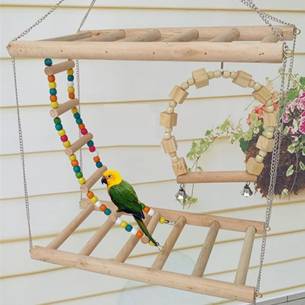 Bird Wood Max 84% OFF Double Perch Ladder and Swing Se Max 43% OFF Bendable