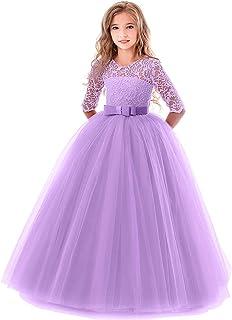 e7205fc1dca OBEEII Filles Robes Cérémonie Dentelle Florale 3 4 Manches pour Mariage  Demoiselle d honneur