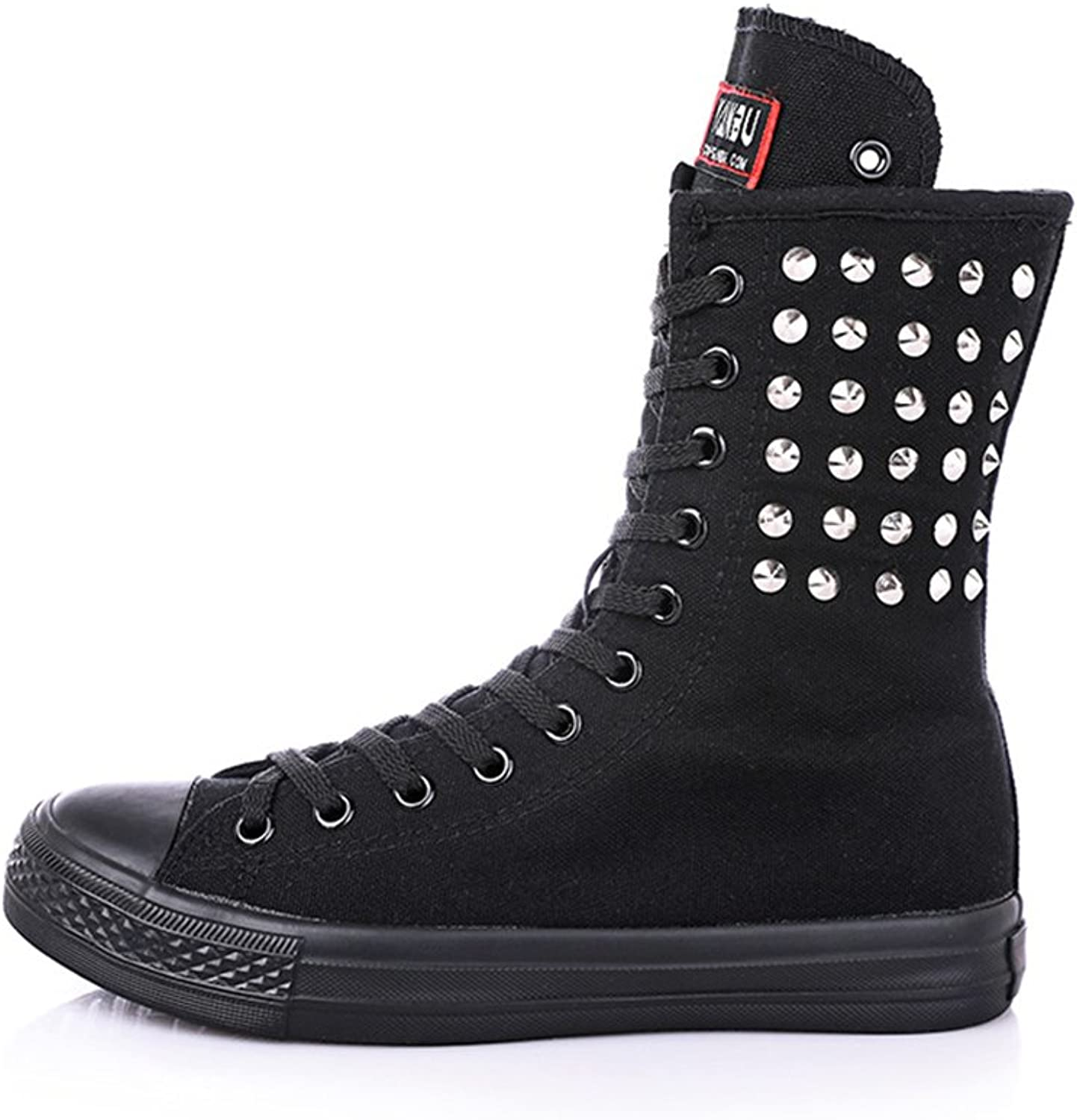 High Woman Boots Tall Classic Canvas Sky High Lace up Stylish Punk Flat Sneaker Boots
